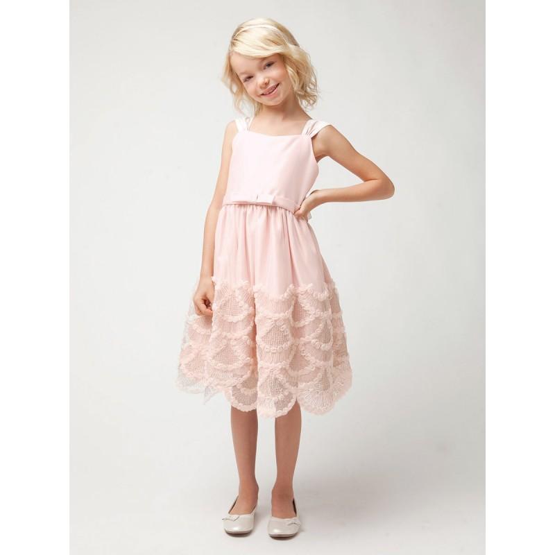 زفاف - Petal Pink Dress w/ Rosette & Cord Embroidered Scallop Skirt Style: DSK491 - Charming Wedding Party Dresses