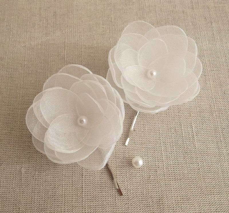 White small organza fabric flowers in handmade with ivory pearls white small organza fabric flowers in handmade with ivory pearls bridal hair shoe clip flower girls accessory christening confirmation set mightylinksfo