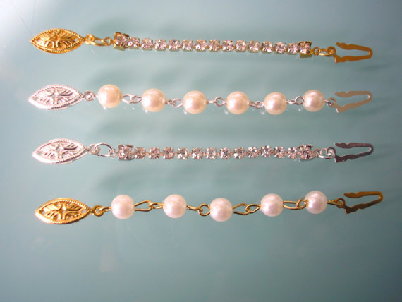 Mariage - Necklace Extender FISH HOOK CLASP Rhinestone Extender Pearl Extender Necklace Lengthener Gold Extender Silver Extender Necklace Extension