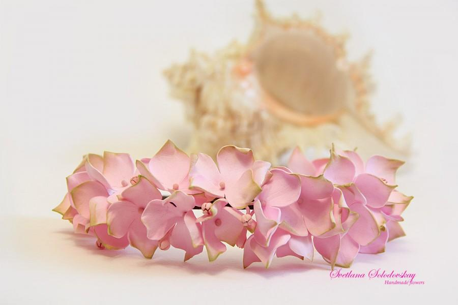 Mariage - Tiara with flowers, hair hoop, Hair Accessories, Wrap with flowers, flowers from foam, hair ornament, Hydrangea, wreath for the bride