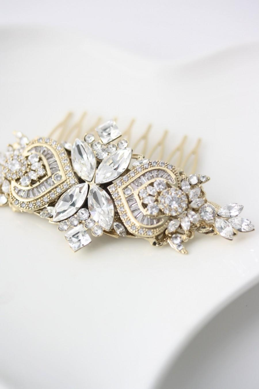 Mariage - Bridal Comb Rhinestone Headpiece Gold Comb Crystal Hair Comb Wedding Hair Accessories Swarovski Veil Comb EVIE
