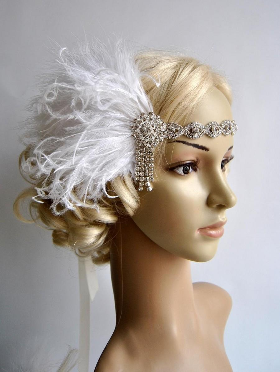 Hochzeit - Art deco 1920s design, The Great Gatsby flapper, bridal fascinator 1920's, 1930's, Feather rhinestone crystal headband, wedding headpiece
