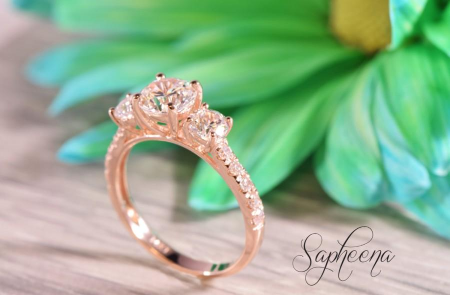 Boda - Rose Gold - 2 carat Three Stone Round + Accent Engagement Ring - 14K Rose Gold, Multistone, Wedding,Statement Ring, Promise Ring by Sapheena