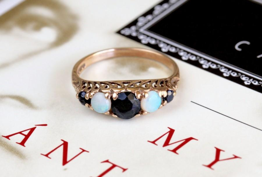 Düğün - Vintage Victorian Revival Sapphire Opal Engagement Ring, Victorian Opal Sapphire Rose Gold Engagement Ring, Alternative Engagement Ring