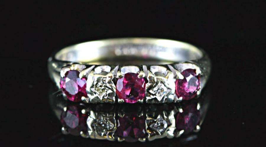 Boda - Diamond and pink red ruby engagement wedding ring in 9ct yellow or white gold vintage antique promise ring for her 1970's