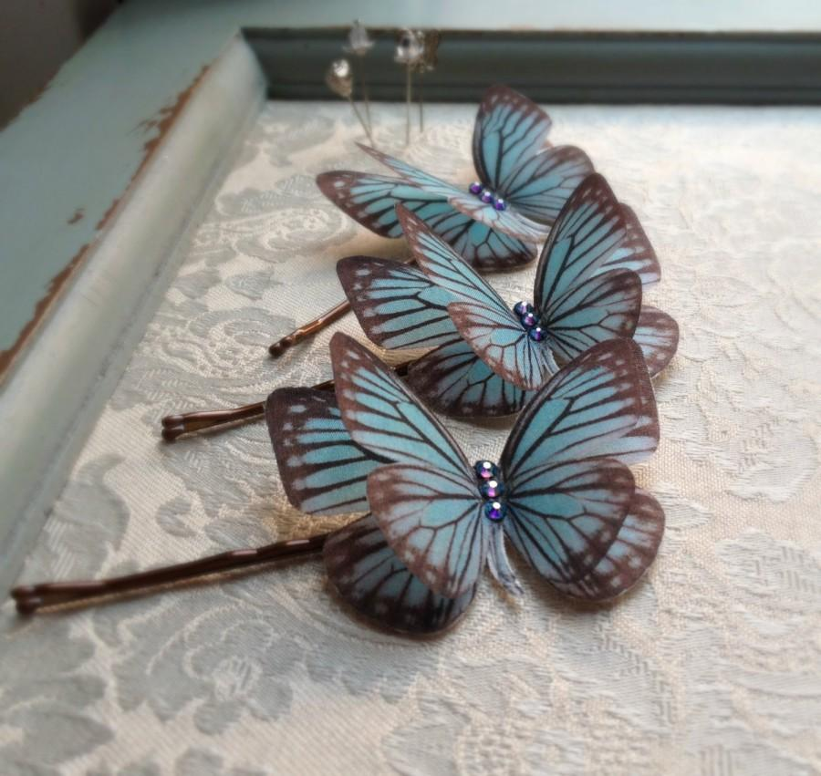 Свадьба - Hand Cut silk butterfly hair pin - Dusky Blue Sparkles