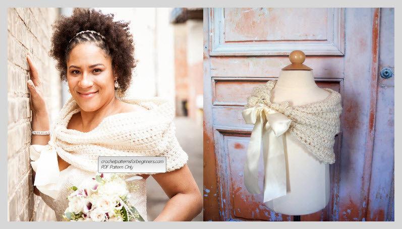 Hochzeit - Wedding Crochet Pattern Set Bridal Shawl And Flower Girl Shawl Crochet Bridal Shrug Flowergirl Shrug Bridal Stole Flower Girl Stole