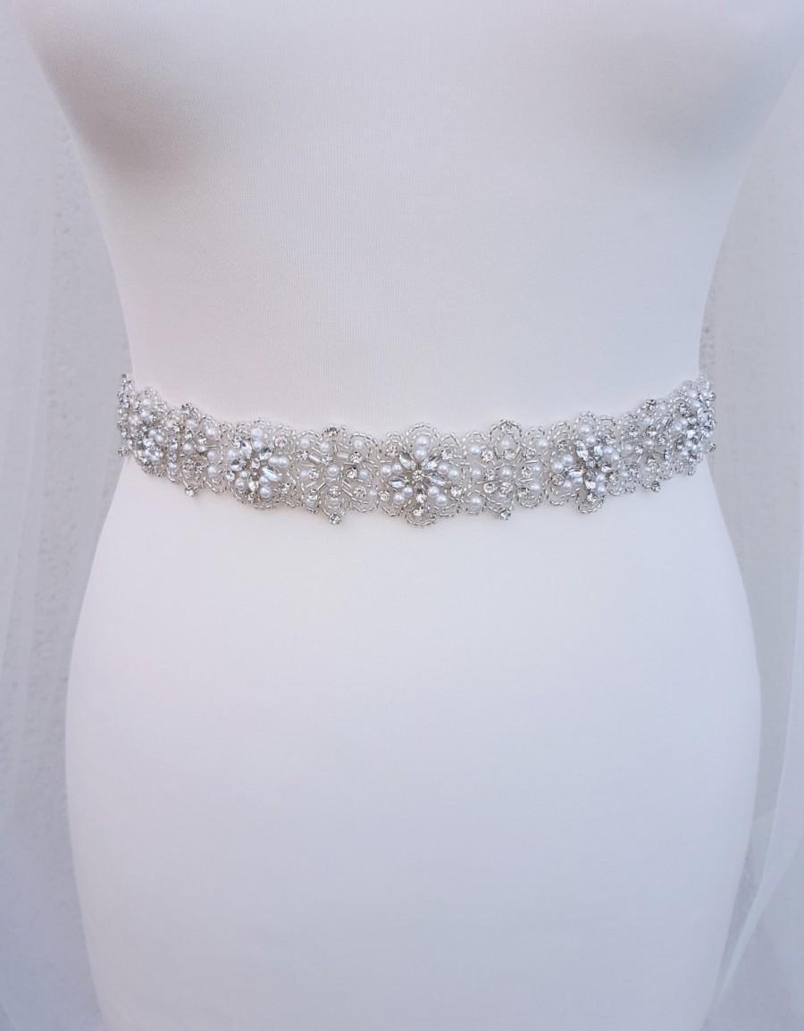 Mariage - Pearl belt, all around, Bridal belt,  pearl bridal belt, wedding belt, bridal sash, Beaded belt, sash belt, pearl wedding belt, MARY-ANN