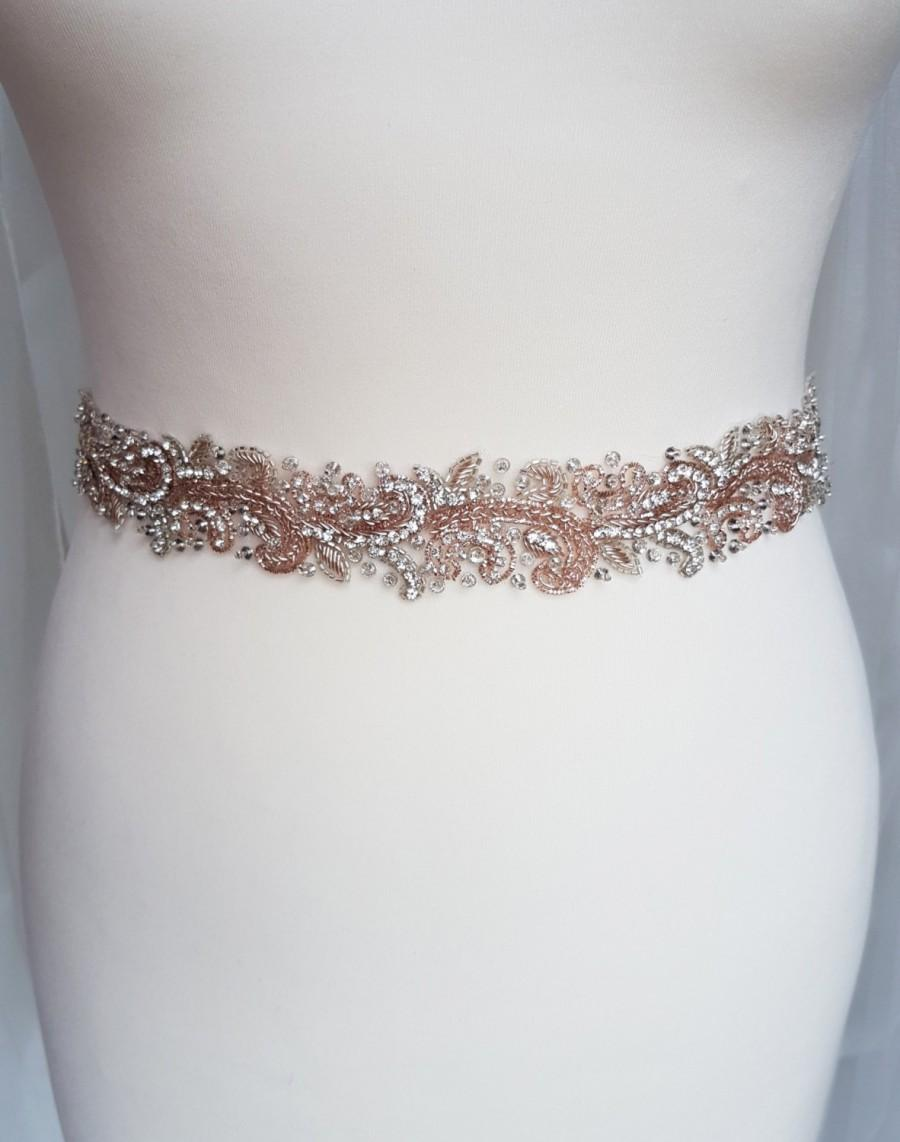 Свадьба - Rose gold bridal belt, Rose gold belt, rose gold sash, luxury bridal belt, wedding belt, blush belt, hand beaded belt, jewelled belt, LYDIA