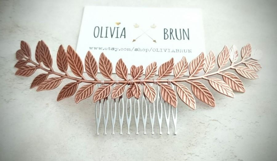 Düğün - FLASH SALE Rose Gold Laurel Leaf Hair Comb Rose Gold Hair Comb Rose Gold Bridal Hair Piece Grecian Hair Rose Gold Greek Hair