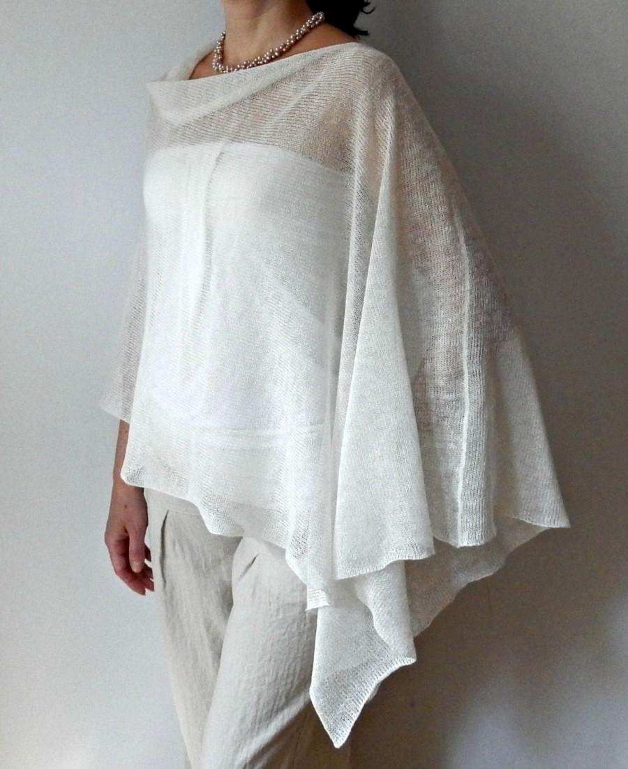 Hochzeit - White Linen Poncho Knit Poncho Cape Summer Bridal Wrap Woman poncho Wedding Bridal shrugs boleros Summer shrug Accessories