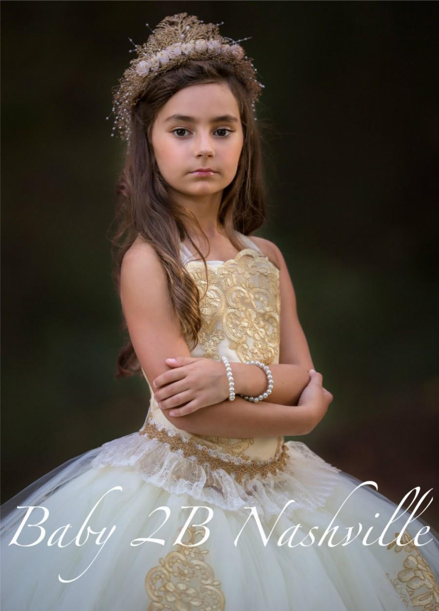 زفاف - Vintage Dress Gold Lace Dress Flower Girl Dress Tulle Dress Party Dress Birthday Dress Wedding Dress Toddler Tutu Dress Girls Dress