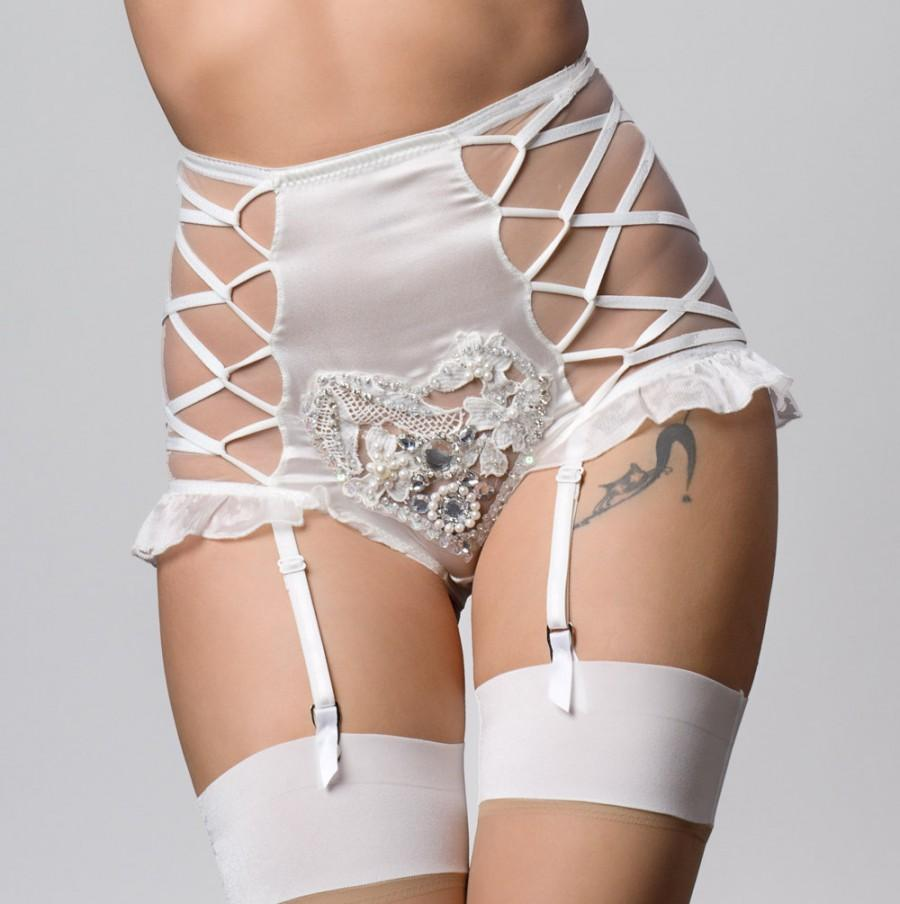 Свадьба - Alexina Bridal Ivory silk and heart crochet embroidery suspender high brief short, white wedding lingerie