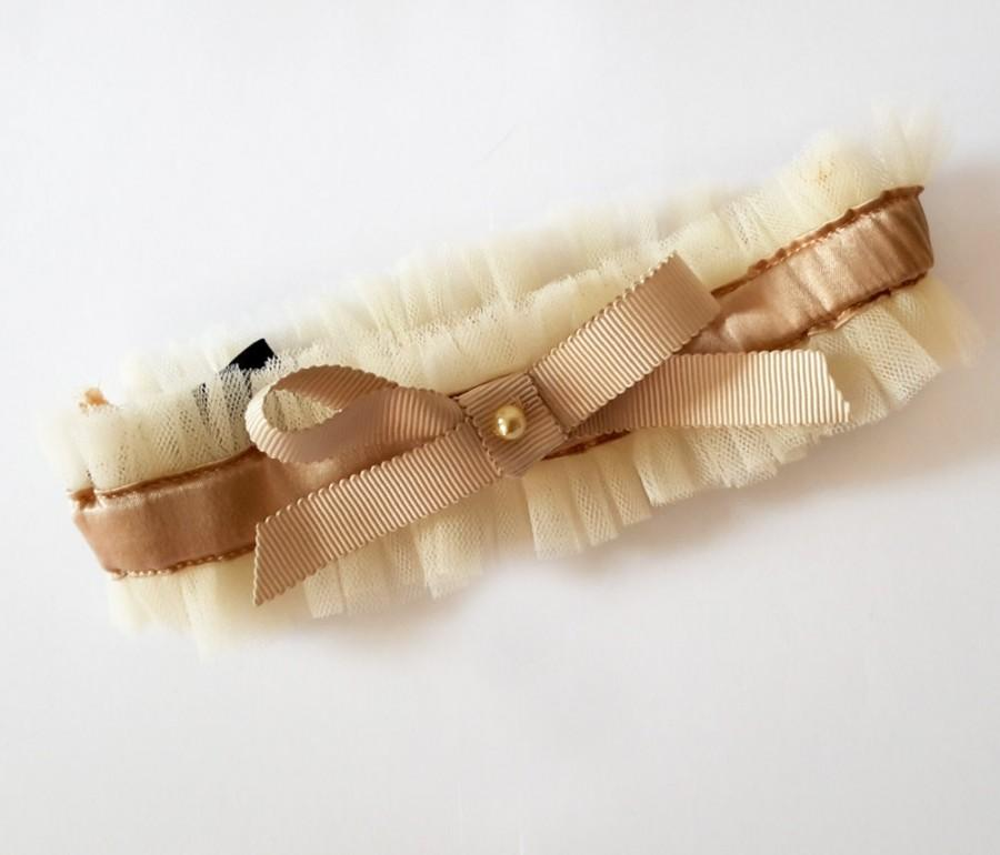 Свадьба - INESS Nude Tulle and silk satin Wedding garter with grosgrain ribbon Bow - wedding lingerie