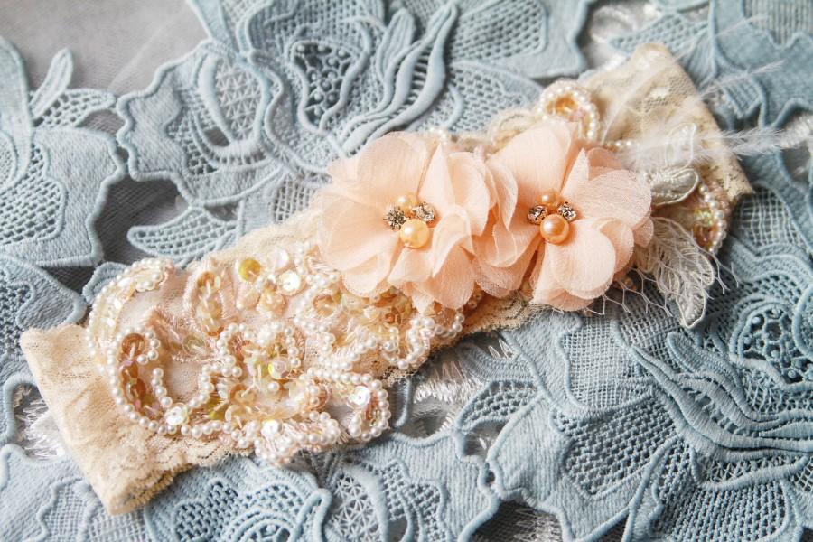 Mariage - Bridal Garter Wedding Garter Peach Garter Salmon Garter - Lace Garter Belt Flower Garter Rustic Garter Prom Garter Rhinestones Boho Garter