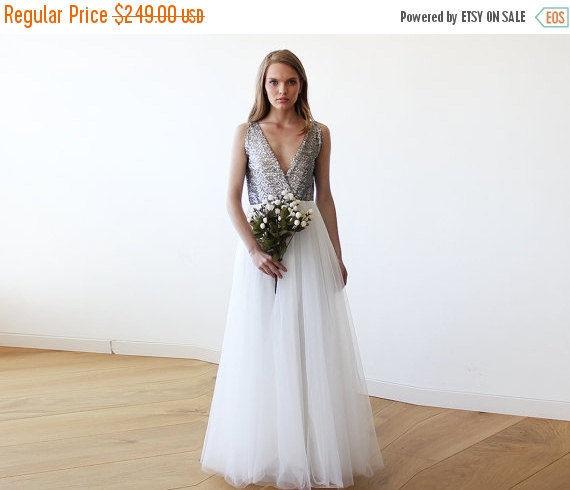 زفاف - Women Day Sale Silver sequins bridal tulle gown, Tulle and sequins wedding gown 1094