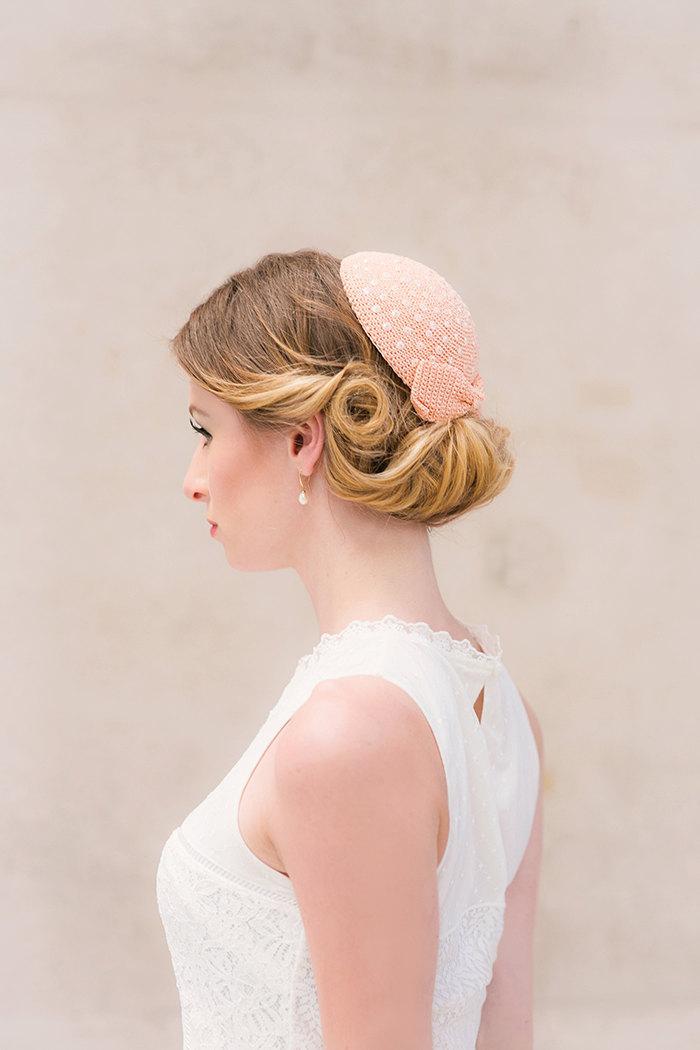 Свадьба - Pillbox bow sequin embroidery crochet bridal fascinator