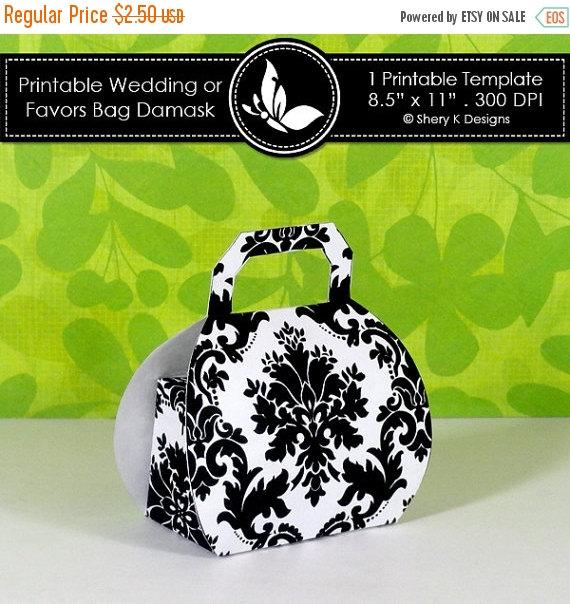 Boda - 40% off Printable wedding or party favors bag damask