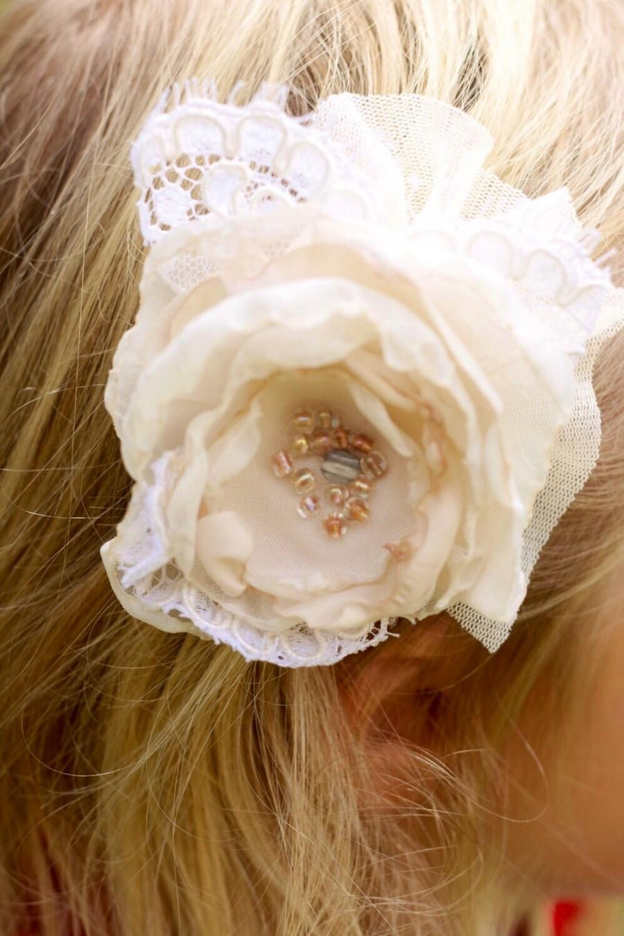 Mariage - ivory and cream wedding flower hair clip, photo prop, flower girl hair clip, shabby chic wedding hair clip, vintage lace flower, ivory hair