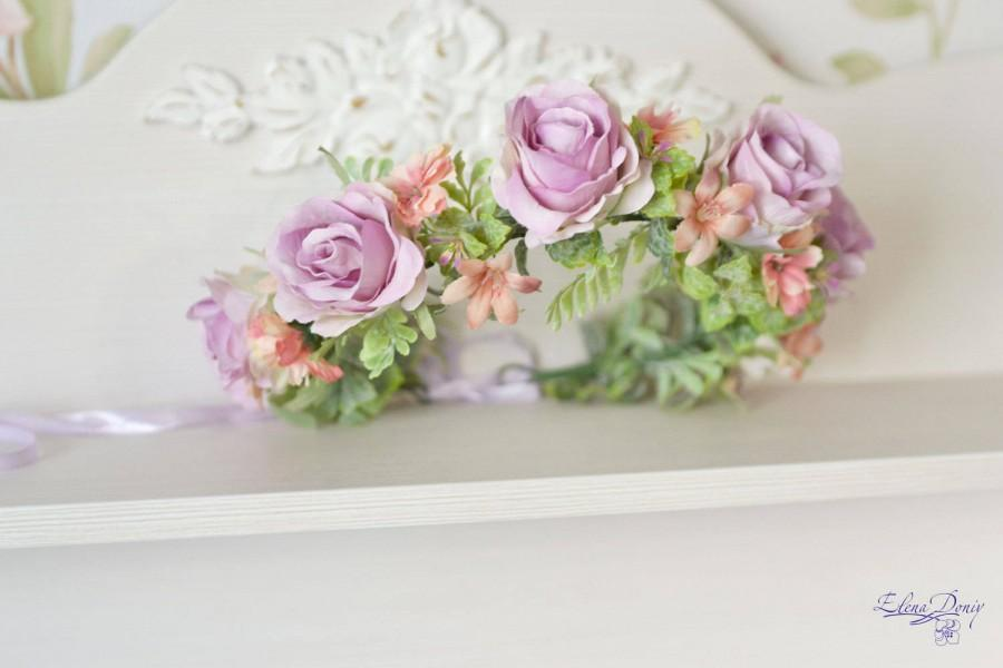 Hochzeit - Lilac flower crown light purple roses hair wreath Wedding floral headband Pastel bridal crown Flower Girl Woodland wedding crown Roses halo - $53.00 USD