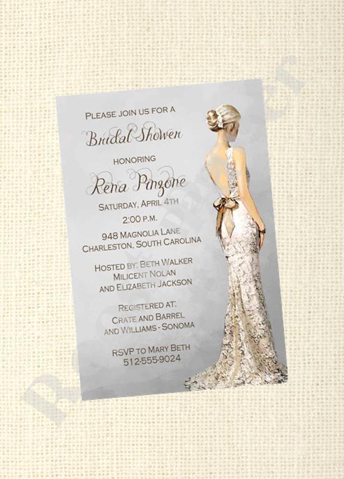 Elegant Bridal Shower Invitation Gray Wedding Dress Profile Gorgeous Bride Digital Custom