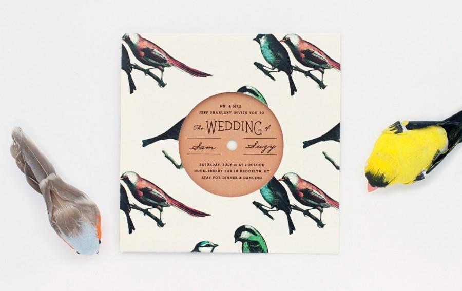 زفاف - Bird Pattern Record with Sleeve Invitation