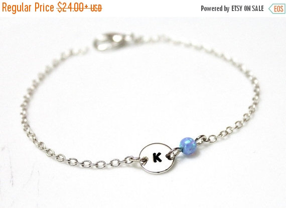 Spring Opal Initial Bracelet Sterling Silver Charm Blue Char