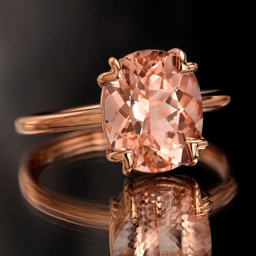 Hochzeit - Peach Pink Morganite Rose Gold Ring, Oval Cut Tulip Solitaire Engagement Ring