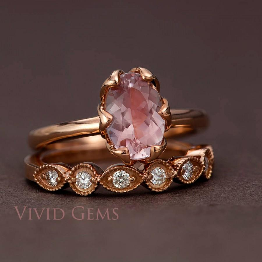 Wedding - Rose Gold Morganite Tulip Engagement Ring, Oval Cut Morganite and Rose Gold Bridal Set, Tulip Solitaire and Rose Gold Band