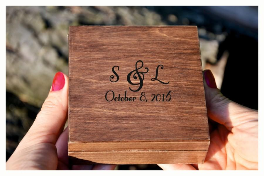 Düğün - Personalized wedding ring box, Initials ring box, personalised ring box, wooden ring box, ring bearer box,engagement ring box (RX16)