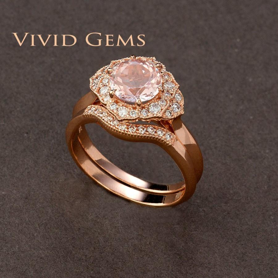 Hochzeit - 1.25 Carat Pink Morganite Bridal Set, Rose Gold Flower Engagement Ring, Rose Gold Band, Morganite Flower Ring