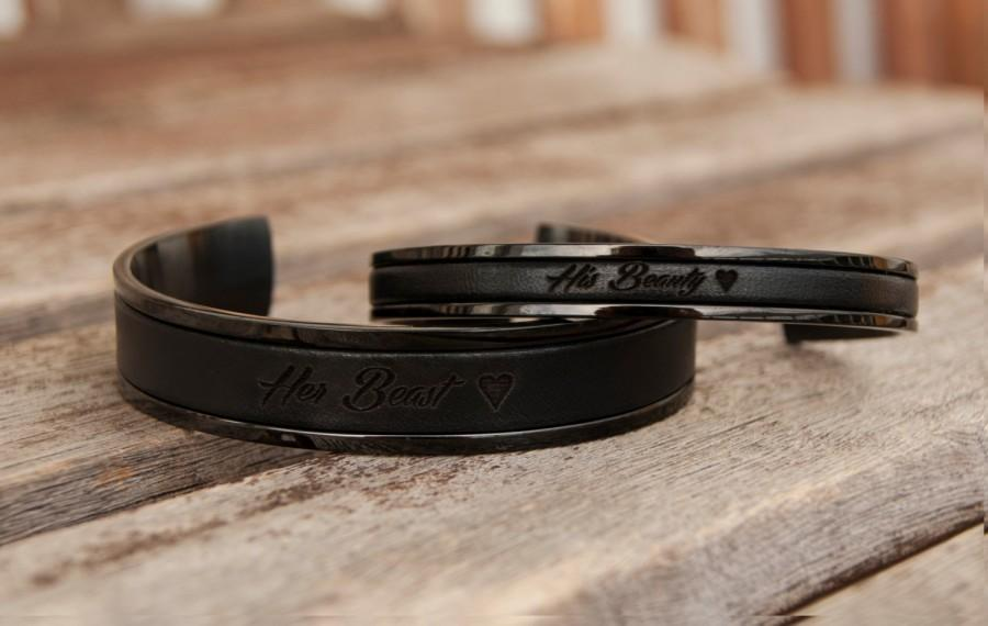 زفاف - Personalized Gift Her Beast His Beauty Bracelet Set of Two Personalized Leather Bracelets for Girlfriend Boyfriend Gift Couples Bracelets