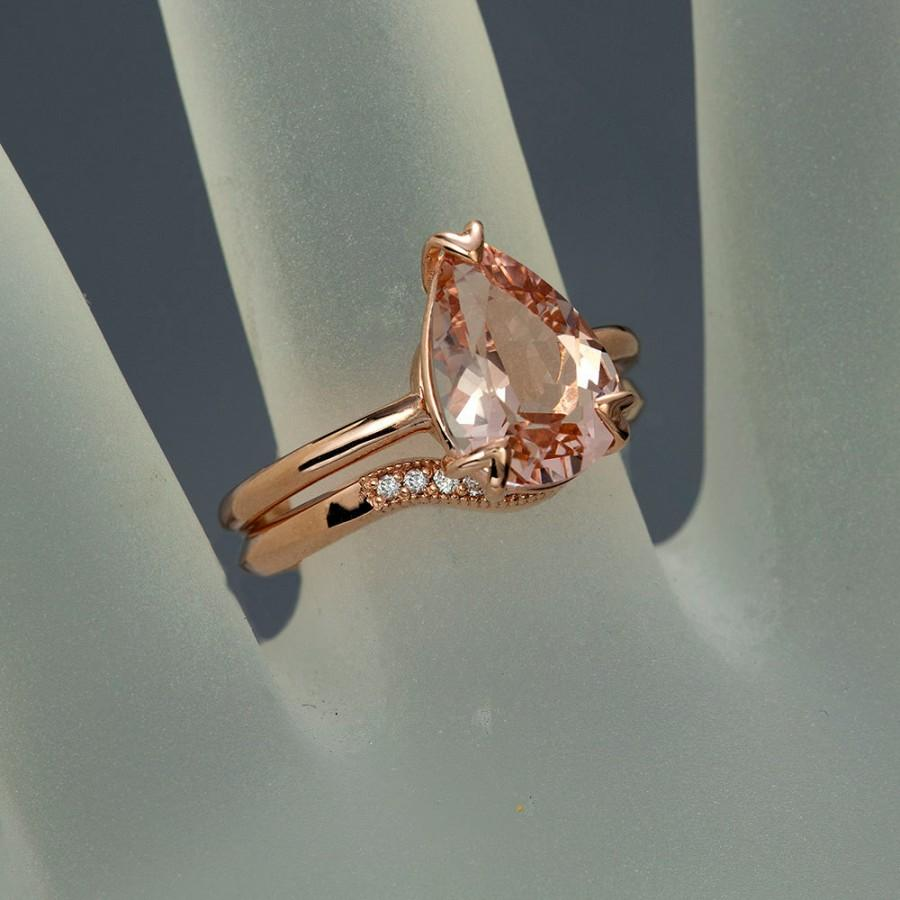 Hochzeit - Peach Pink Morganite Engagement Set, Pear Cut Morganite Solitaire Tulip Ring, Rose Gold Engagement Set