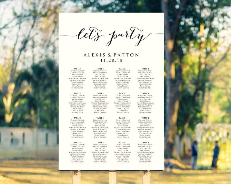 let s party wedding seating chart template in four sizes wedding