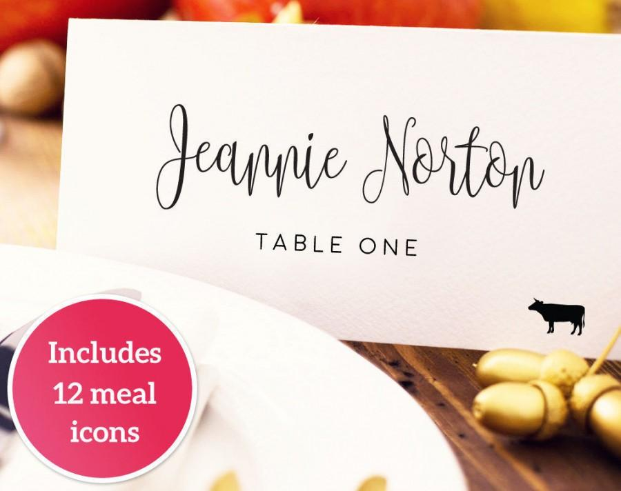 Hochzeit - Wedding Place Card with Meal Icons Template, DIY Editable Card, Food Icon, Seating Card, Menu Icons, Wedding Printable Escort Cards,  - $8.00 USD