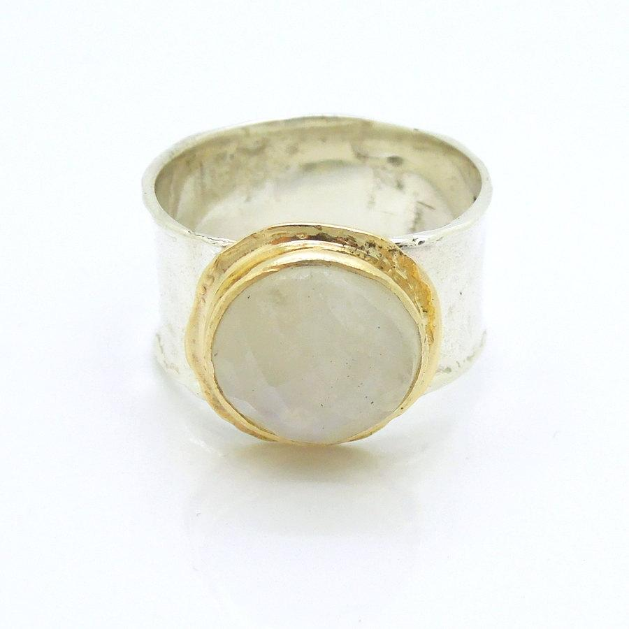 Wedding - Moonstone ring set in gold and silver sterling wide band