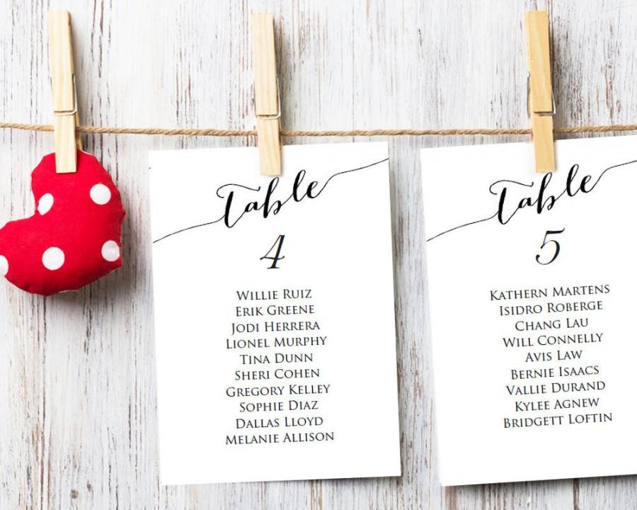 Table Seating Cards Template 1 40 Wedding Chart Diy Sizes 4x6 And 5x7 Plan Printable 9 50 Usd