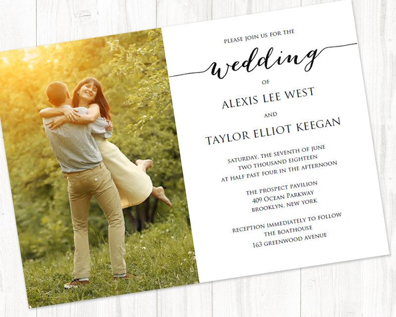 Свадьба - Wedding Photo Invitation Template, INSTANT DOWNLOAD, Self Editing Invite Template, DIY Wedding Printable, Personalized Invitation  - $6.50 USD