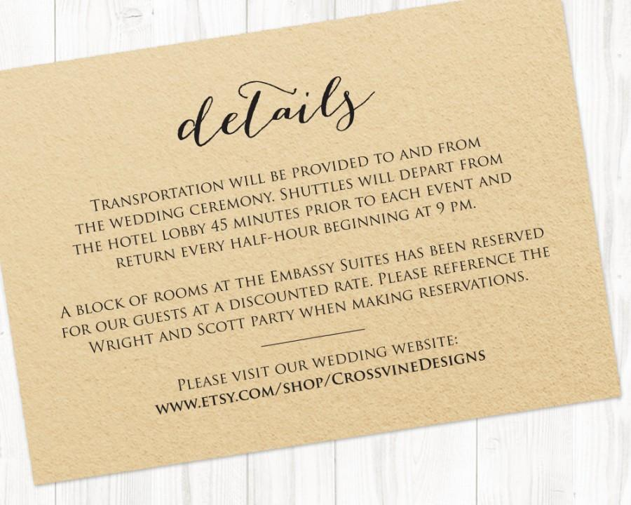 Details Card Insert Wedding Information Card Template DIY Bride – Wedding Information Card Template