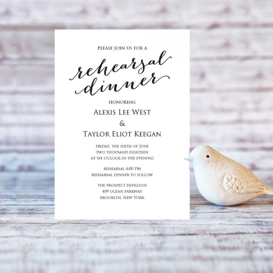 Rehearsal Dinner Invitation Template DIY Printing Custom