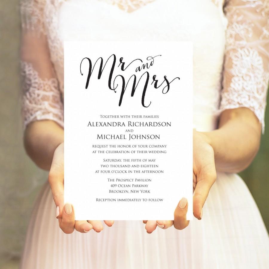 Mr. And Mrs. Wedding Invitation Template, Editable Template, DIY ...