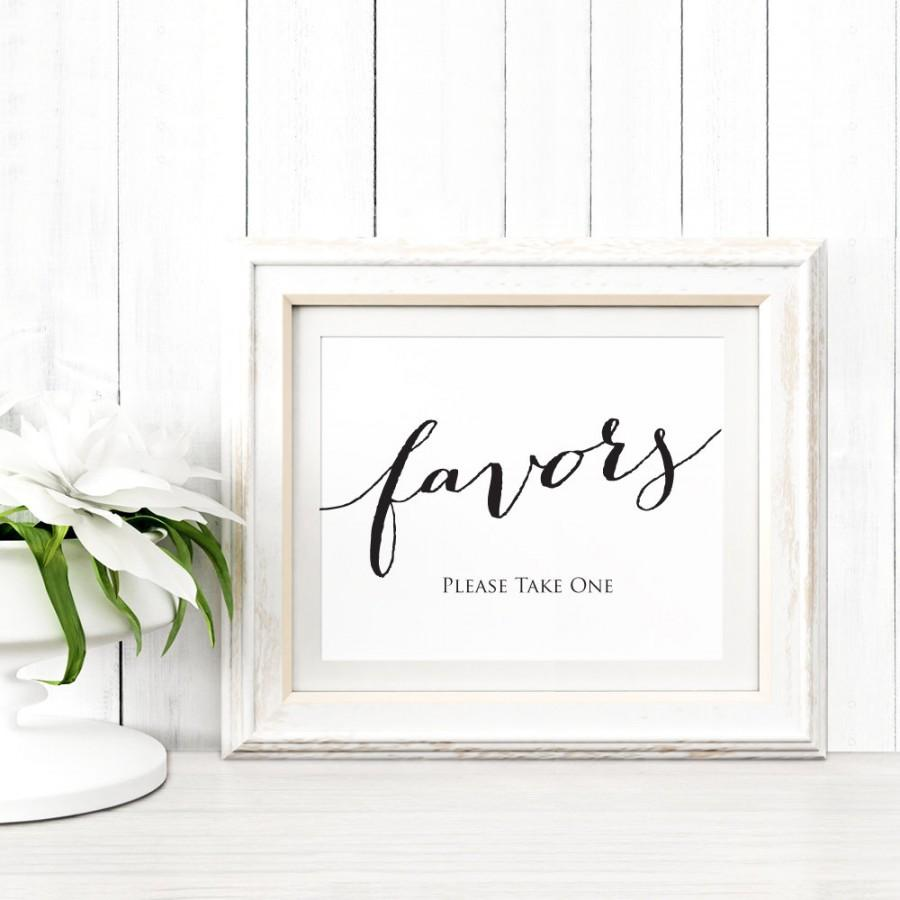Favors Sign Template In TWO Sizes, Wedding Sign Download, DIY Sign ...