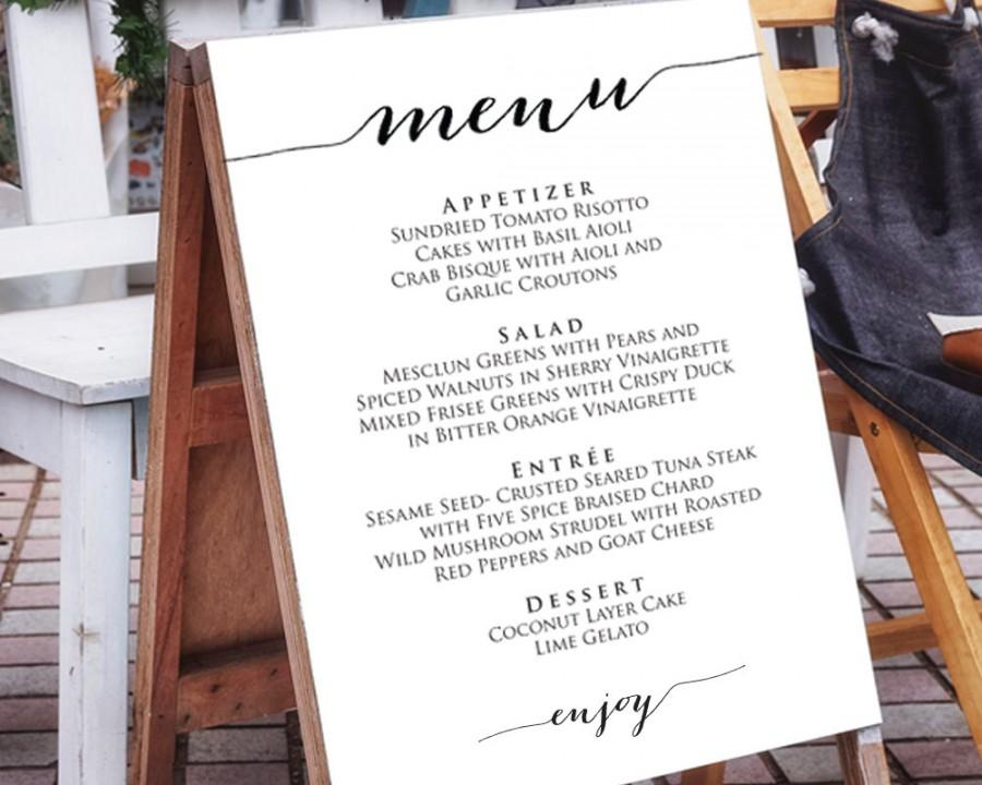 Wedding Menu Template In FOUR Sizes Poster DIY Printable Reception Sign Editable