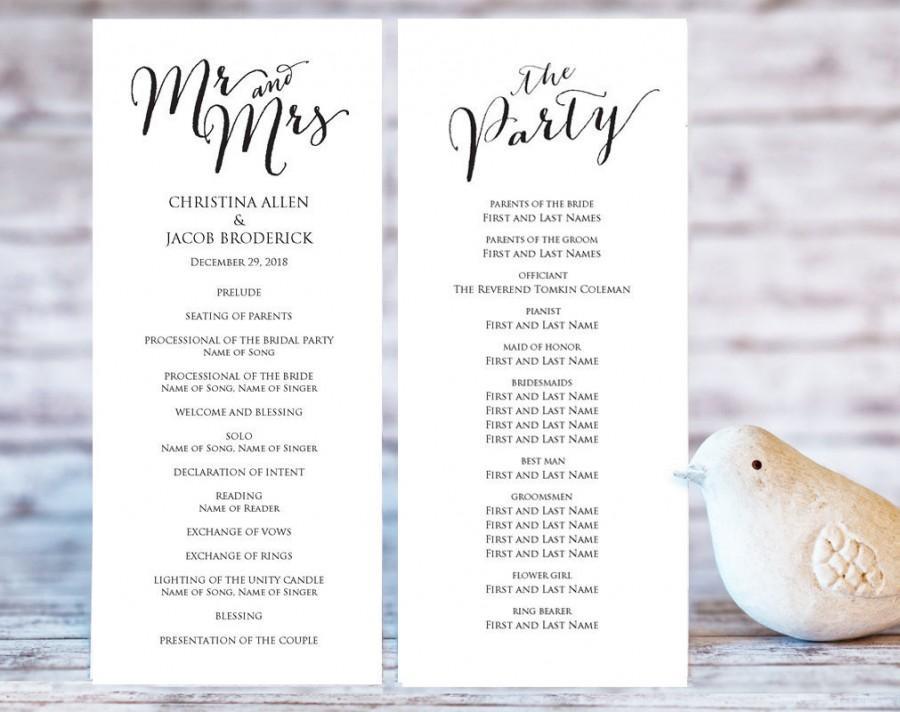 Wedding Program Templates Ceremony Program Template Diy Wedding