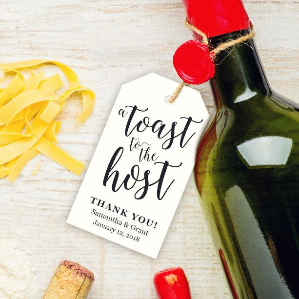 "A Toast To The Host Tag Template ~ 2.5"" X 4"" ~ Hostess Gift ~ Host"