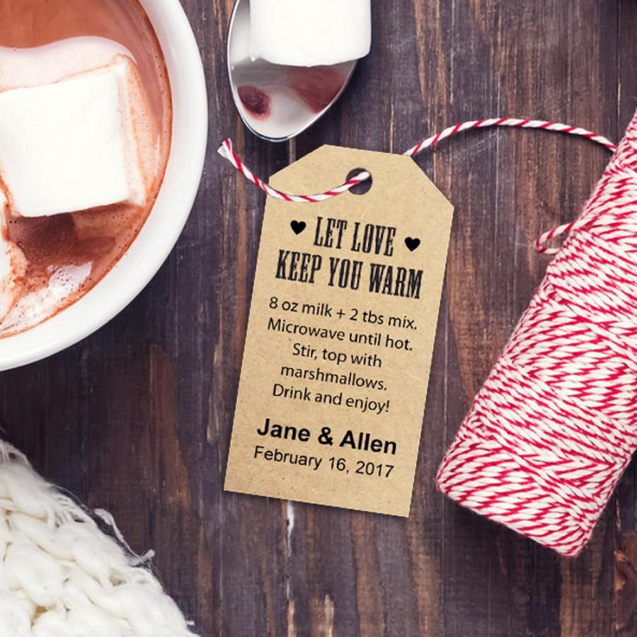 Wedding - Hot Chocolate Favors Recipe Tag, THREE Template Sizes, Let Love Keep You Warm Custom Tags, DIY Printable Favor Tags, Gift Tags, Wedding Tags - $6.50 USD