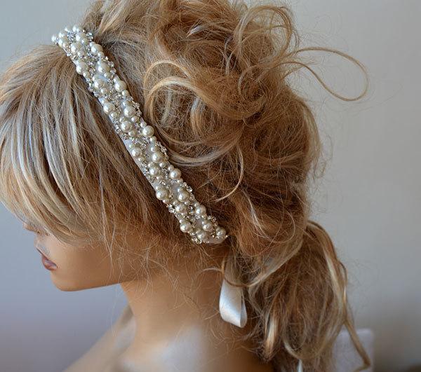 Mariage - Pearl Headband, Wedding Pearl Headband, Bridal Pearl Headband, Wedding hair Accessory, Bridal Hair Accessory