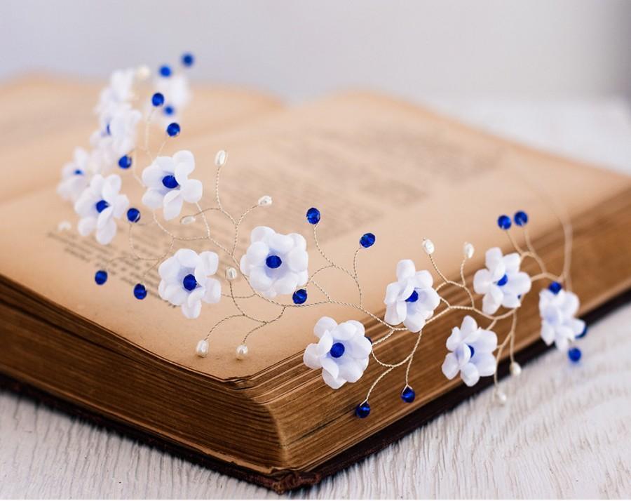 Mariage - 51_White headband, Wedding headband, Hair accessories blue, Blue wedding, Silver head piece, Hair accessories flowers Floral headband Diadem