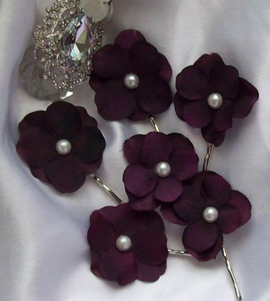 Mariage - Bridal Sale,Hair Flower,Bridal Hair Flowe,Eggplant Hair Flower,Bridal Hair Flower,Bridal Accessory,Eggplant wedding Plum