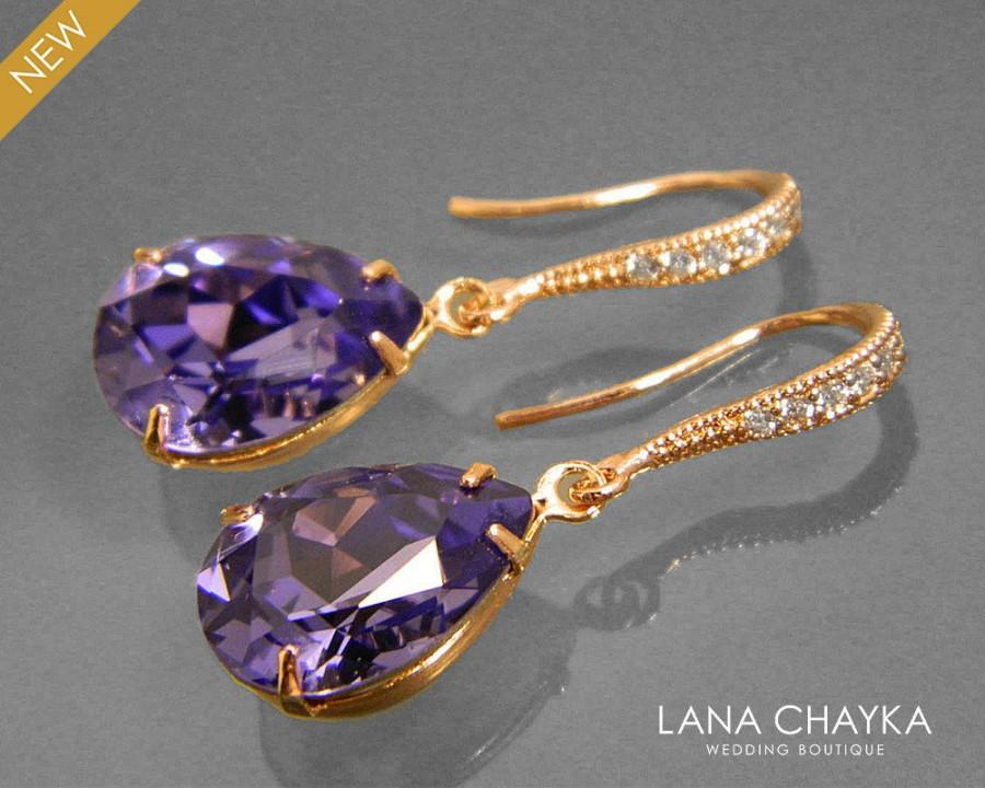 Mariage - Tanzanite Rose Gold Crystal Earrings Swarovski Tanzanite Rhinestone Earrings Violet Purple Rose Gold Earrings Bridesmaids Wedding Jewelry - $25.00 USD